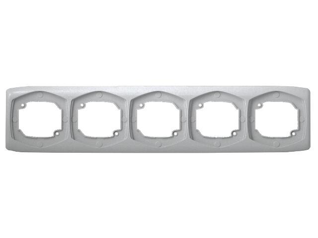 Ramka TON COLOR SYSTEM pięciokrotna pozioma srebro Ospel