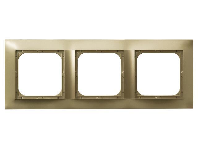 Ramka IMPRESJA potrójna do łączników złoty metalik Ospel