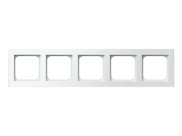 Ramka SONATA pięciokrotna do łączników IP-44 biały Ospel