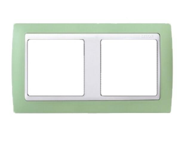 Ramka Simon 82 2x zielona/pośrednia biała 82621-65 Kontakt Simon