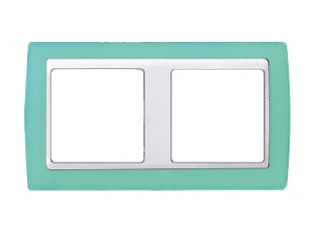 Ramka Simon 82 2x zielony transparent./pośrednia biała 82623-65 Kontakt Simon