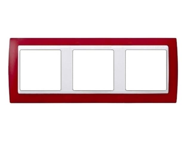 Ramka Simon 82 3x czerwony transparent./pośrednia biała 82633-37 Kontakt Simon