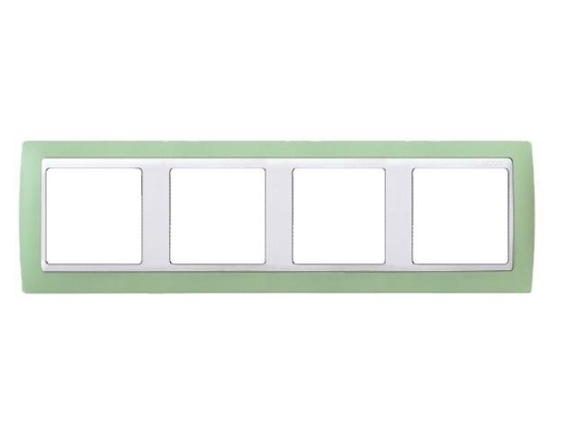 Ramka Simon 82 4x zielona/pośrednia biała 82641-65 Kontakt Simon