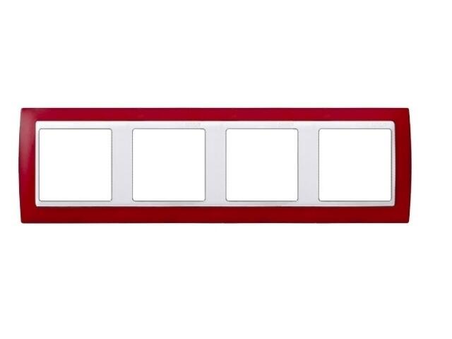 Ramka Simon 82 4x czerwony transparent./pośrednia biała 82643-37 Kontakt Simon