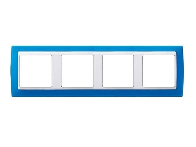 Ramka Simon 82 4x niebieski transparent./pośrednia biała 82643-64 Kontakt Simon