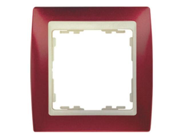Ramka Simon 82 1x czerwony metal./pośrednia beżowy 82714-37 Kontakt Simon