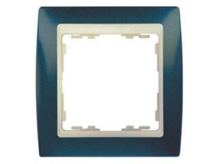 Ramka Simon 82 1x niebieski metal./pośrednia beżowy 82714-64 Kontakt Simon