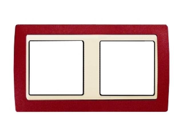 Ramka Simon 82 2x czerwony metal/pośrednia beżowy 82724-37 Kontakt Simon