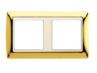 Ramka Simon 82 2x złoto/pośrednia beżowy 82724-66 Kontakt Simon