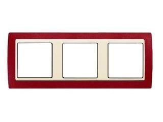 Ramka Simon 82 3x czerwony metal/pośrednia beżowy 82734-37 Kontakt Simon