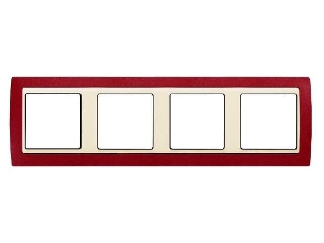 Ramka Simon 82 4x czerwony metal/pośrednia beżowy 82744-37 Kontakt Simon