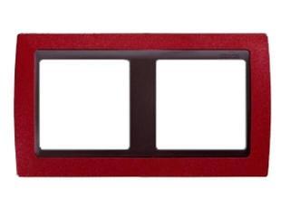 Ramka Simon 82 2x czerwony metal/pośrednia grafitowy 82824-37 Kontakt Simon