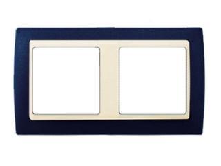 Ramka Simon 82 2x niebieski metal/pośrednia grafitowy 82824-64 Kontakt Simon
