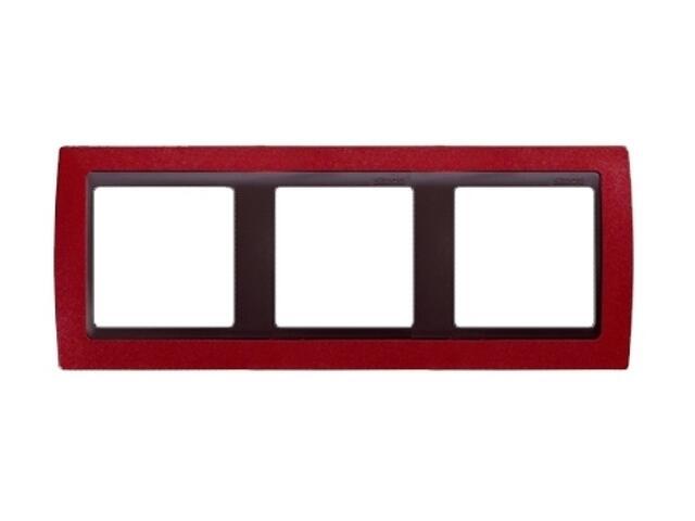 Ramka Simon 82 3x czerwony metal/pośrednia grafitowy 82834-37 Kontakt Simon