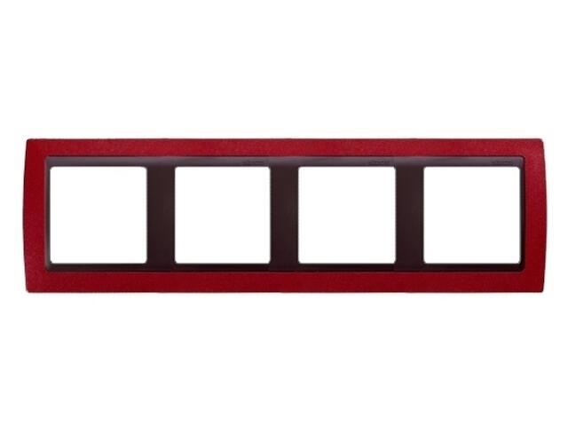 Ramka Simon 82 4x czerwony metal/pośrednia grafitowy 82844-37 Kontakt Simon