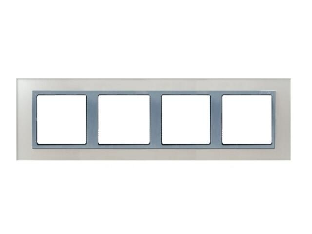 Ramka Simon 82 4x kryształ-srebrny/pośrednia alu. mat 82947-62 Kontakt Simon