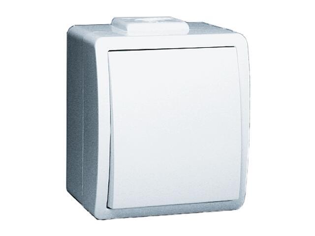Łącznik natynkowy Protector jednobiegunowy IP44 PW1/11 biały Kontakt Simon