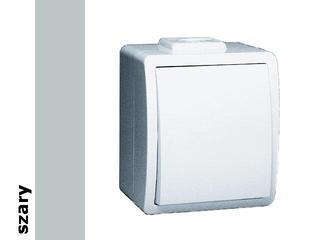 Łącznik natynkowy Protector jednobiegunowy IP44 PW1/16 szary Kontakt Simon