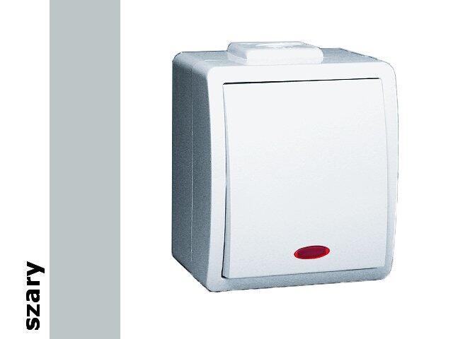 Łącznik natynkowy Protector jednobiegunowy IP44 z podśw. PW1L/16 szary Kontakt Simon