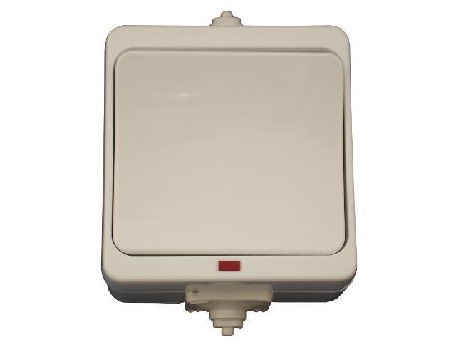 Łącznik natynkowy JANTAR jednobiegunowy z podśw. IP44 WNT-1JB/S biały Abex