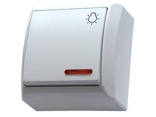 Łącznik natynkowy BIS zwierny światło z podśw. biały Ospel