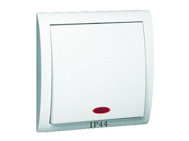 Łącznik natynkowy Classic jednobiegunowy bryzgoszczelny z podśw. MW1BL/11 biały Kontakt Simon