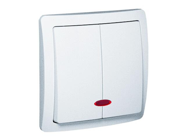 Łącznik natynkowy Basic schodowy podwójny BW6/2Le/11 biały Kontakt Simon