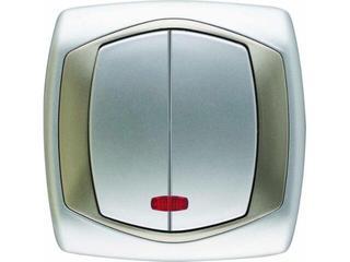 Łącznik natynkowy COMFORT dwugrupowy (świecznikowy) ŁP-2XS.SR/ST srebrny satynowy Polmark