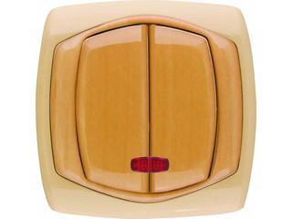 Łącznik COMFORT dwugrupowy (świecznikowy) ŁP-2XS.CB/GR ciemnobeżowy, gruszkowy Polmark
