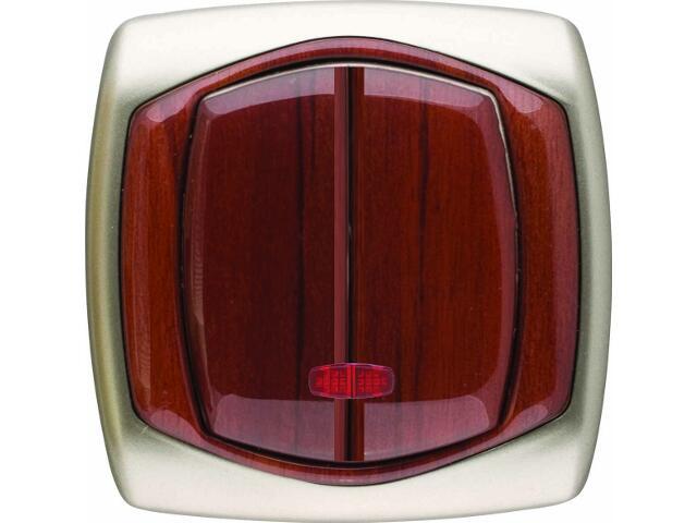 Łącznik natynkowy COMFORT dwugrupowy (świecznikowy) ŁP-2XS.ST/MA satynowy, mahoniowy Polmark