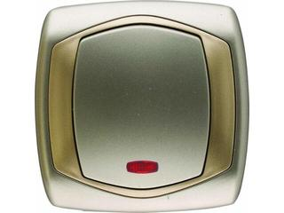 Łącznik natynkowy COMFORT jednobiegunowy z podświetlaniem ŁP-1XS.ST/ZŁ satynowy, złoty Polmark