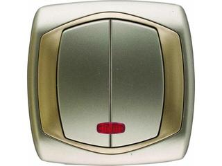 Łącznik natynkowy COMFORT dwugrupowy (świecznikowy) ŁP-2XS.ST/ZŁ satynowy, złoty Polmark