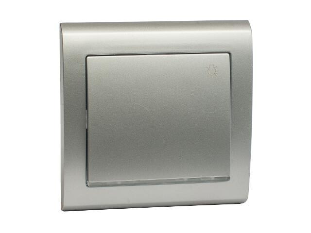 Łącznik natynkowy AURA światło z podświetleniem ŁP-5US srebrny Polmark
