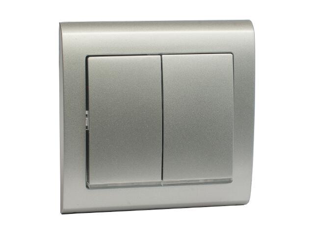 Łącznik natynkowy AURA podwójny schodowy z podświetleniem ŁP-10US srebrny Polmark