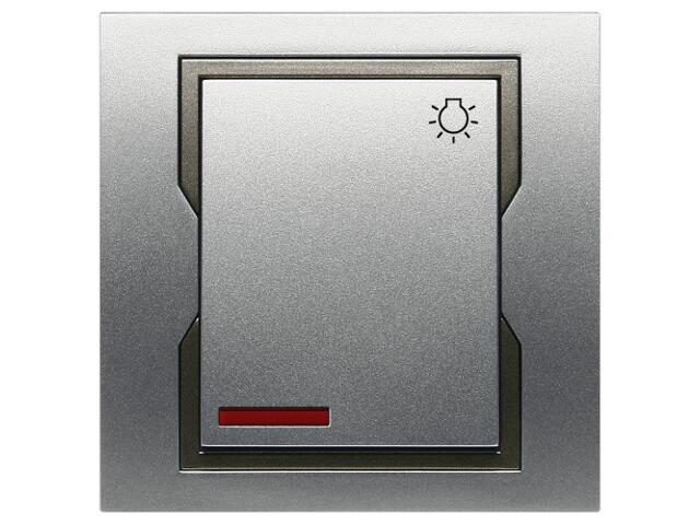 Łącznik natynkowy QUATTRO światło z podświetleniem ŁPT-1S+n srebrny grafitowy Elektro-plast N.