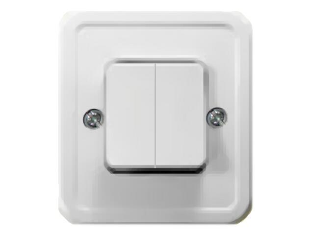 Łącznik natynkowy PI dwugrupowy świecz. biały Ospel