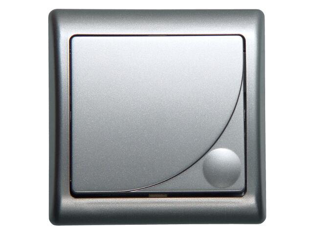 Łącznik EFEKT METALIC zwierny światło z podśw. srebro Ospel