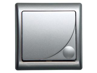 Łącznik natynkowy EFEKT METALIC zwierny dzwonek z podśw. srebro Ospel