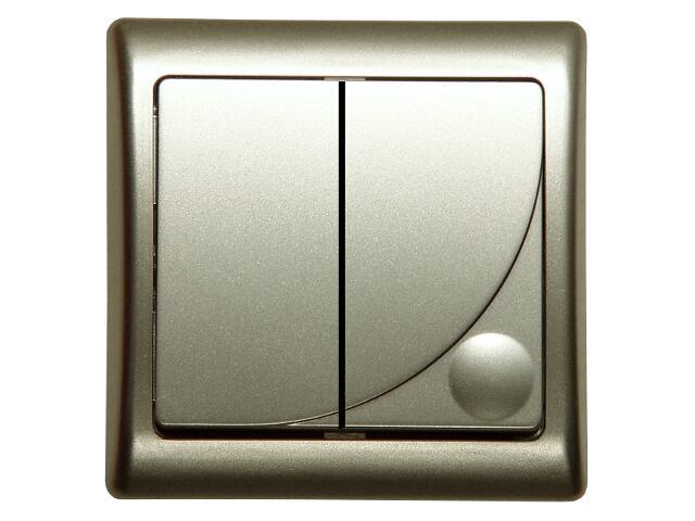 Łącznik natynkowy EFEKT METALIC schodowy+jednobiegunowy satyna Ospel