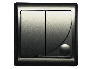 Łącznik natynkowy EFEKT METALIC dwugrupowy świecz. grafit Ospel