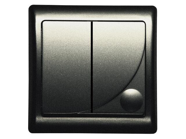 Łącznik natynkowy EFEKT METALIC podwójny schodowy z podśw. grafit Ospel