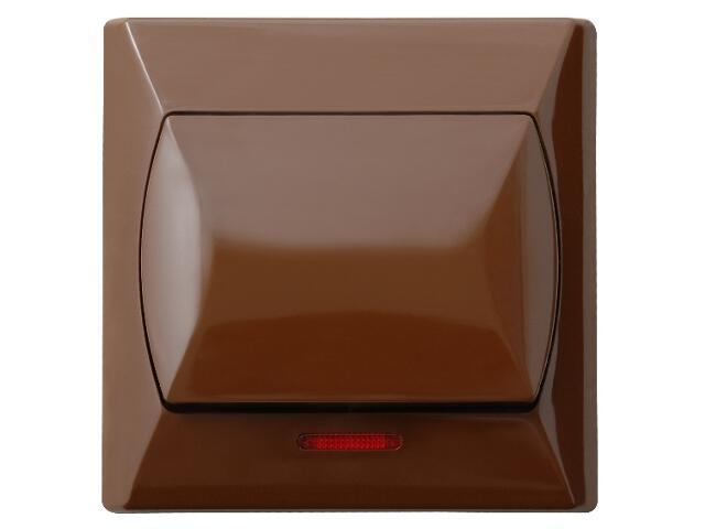Łącznik natynkowy AKCENT zwierny światło z podśw. brązowy Ospel