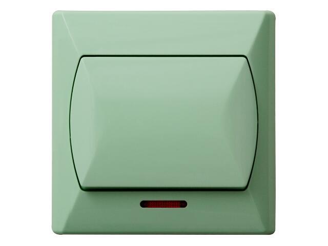 Łącznik natynkowy AKCENT zwierny światło z podśw. seledynowy Ospel