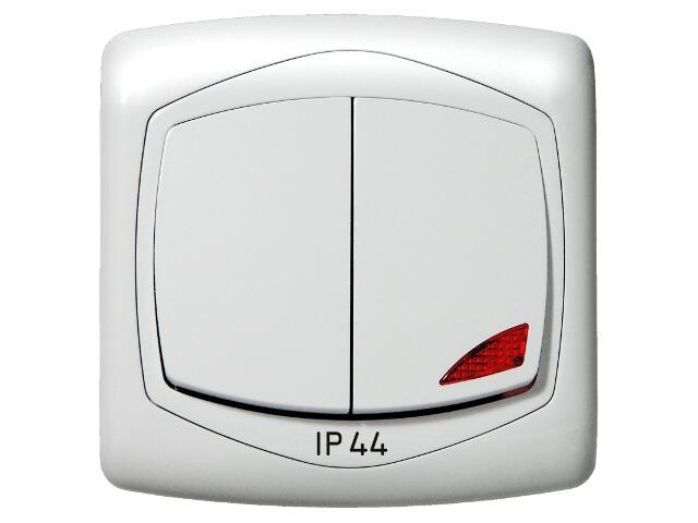 Łącznik natynkowy TON dwugrupowy świecz. z podśw. IP-44 biały Ospel