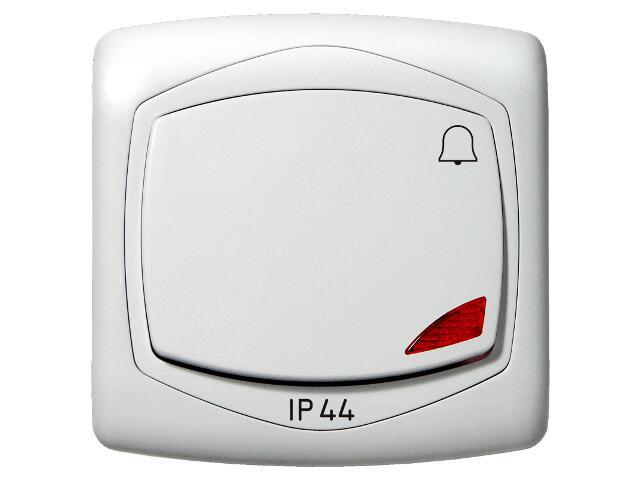 Łącznik natynkowy TON zwierny dzwonek z podśw. IP-44 biały Ospel