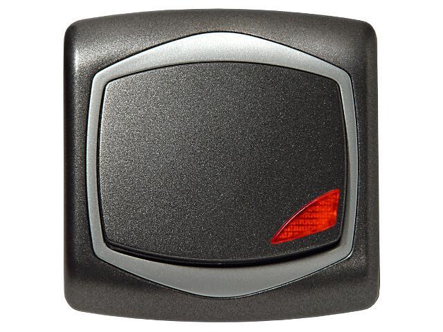 Łącznik natynkowy TON METALIC zwierny światło z podśw. grafit srebro Ospel