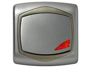 Łącznik natynkowy TON METALIC zwierny światło z podśw. srebro satyna Ospel