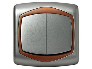 Łącznik natynkowy TON METALIC dwugrupowy świecz. srebro miedź Ospel