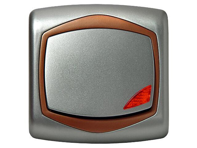 Łącznik natynkowy TON METALIC zwierny dzwonek z podśw. srebro miedź Ospel
