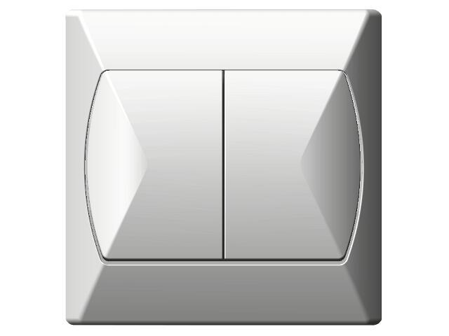 Łącznik natynkowy AKCENT schodowy+jednobiegunowy biały Ospel